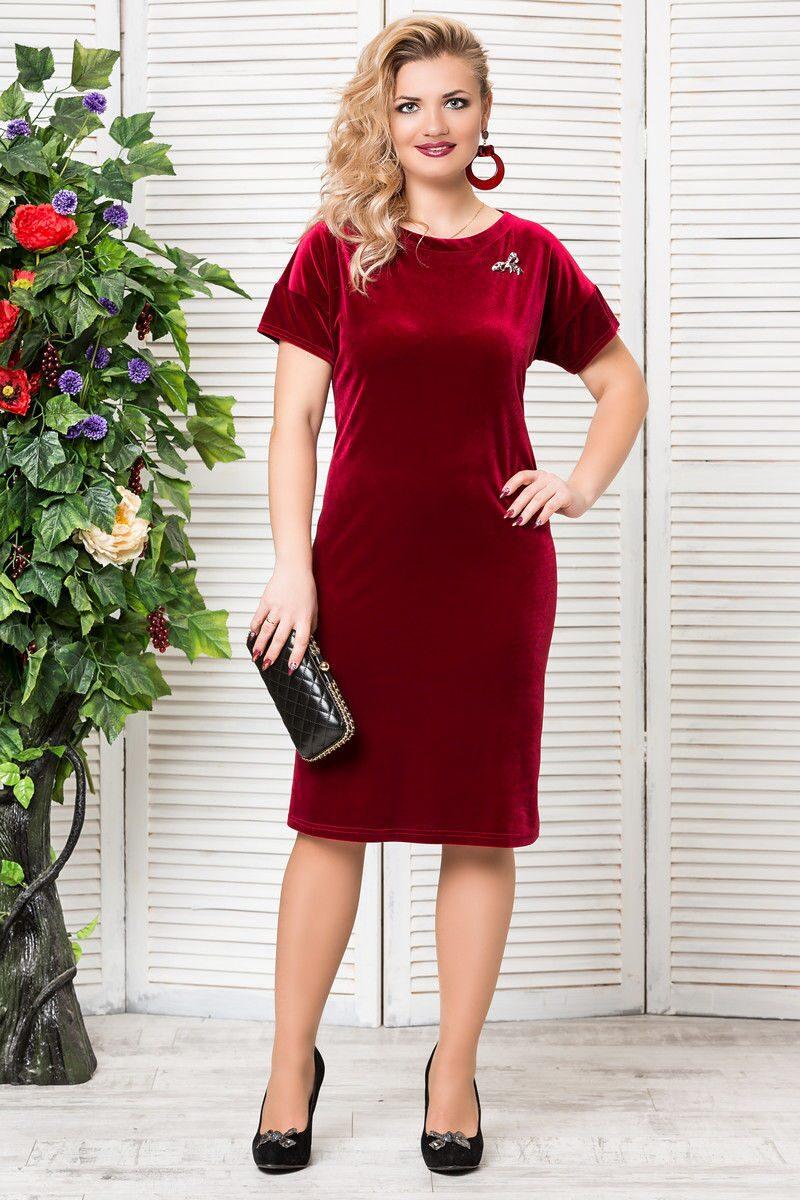 Бордовое платье для полных